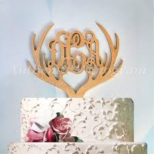 antler cake topper three letter monogram cake toppers authenticmonogram