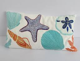 theme pillows white pillow with sea themed embroidery
