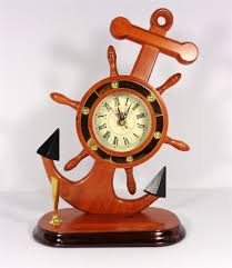 Nautical Desk Accessories by Nautical Ships Wheel Clock With Ship Anchor And Pen Holder Sailing