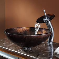 Bathroom Waterfall Faucet by Bathroom Glass Vessel Sink And Faucet Combination Kraususa Com