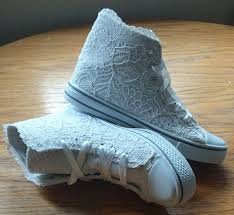 Wedding Shoes Converse White Lace Hitop Converse Style Wedding Shoes By Alisonthyrashoes