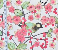 Cherry Blossom Upholstery Fabric Bird Fabric Cherry Blossoms Spring Watercolor Pink Flowers From