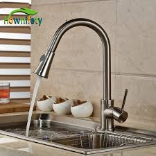 kitchen pull out faucet brushed nickel pull out faucet spout swivel kitchen sink mixer tap