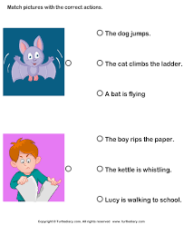 action verb match the picture with action worksheet turtle diary