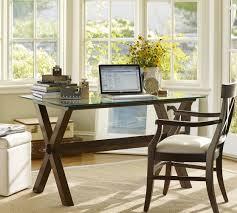 ava glass display wood desk ava wood desk espresso stain pottery barn i have a sofa table