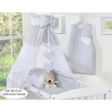 chambre bebe discount ciel de lit bébé en voile avec bande gris à coe achat vente
