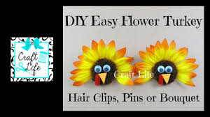 craft life diy easy flower turkey hair clips pins bouquet tutorial