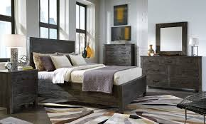 Wood Panel Bed Frame by Abington Weathered Charcoal Wood 2pc Bedroom Set W King Panel Bed