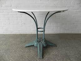 deco en zinc art deco french steel garden table with cast iron foot for sale