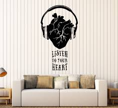Vinyl Wall Decals by Vinyl Wall Decal Musical Heart Headphones Music Quote Stickers