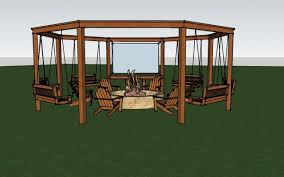 Firepit Chairs Render Of The Diy Pergola With Firepit Chairs And Swings
