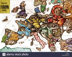 Europe Map In 1914 by Wwi Satirical War Map Of Europe 1914 Stock Photo Royalty Free