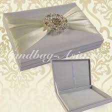 boxed wedding invitations white dupioni silk wedding invitation box with ivory taffeta lace