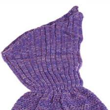 crocheted knited mermaid shape blanket in light purple
