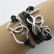 black leather love bracelet images Vintage love heart to heart lucky 8 infinity bracelet multiple jpg