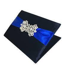 large ribbon wedding pocket folder navy blue velvet with large rhinestone brooch