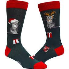 mens christmas socks christmas cat socks for men crew socks for cat modsock