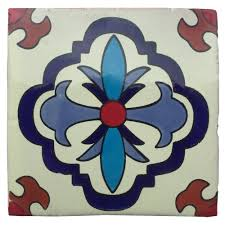 Blue Border Tiles Hand Painted White Talavera Tile Pattern Rt4141 4in X 4in