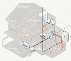 Floor Plan With Plumbing Layout by House Plumbing Diagram Stock Vector Art 641554520 Istock