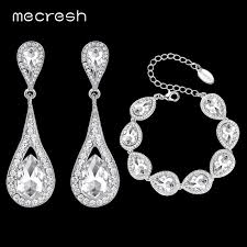 crystal bridal bracelet images Mecresh elegant teardrop bridal jewelry sets for women silver jpg