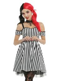 plug and socket costume spirit halloween black u0026 white striped off the shoulder dress topic