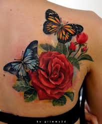 two butterflies pose with a red rose flower in this colorful