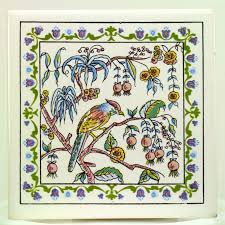 Decorative Tile Borders Vtg Azupal Pombal Portugal Decorative Ceramic Tile Bird On Branch
