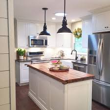 small kitchen butcher block island modern farmhouse kitchen white inset cabinets butcher block