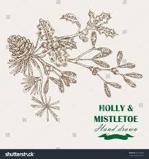 Christmas Plants Hand Drawn Christmas Plants Mistletoe Holly Stock Vector 321259208