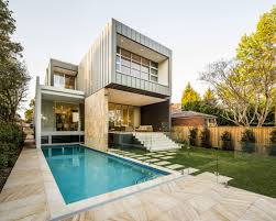 exterior design modern house with box style plus cool pool design