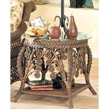 Rattan Accent Table Rattan End Tables Iron Wood
