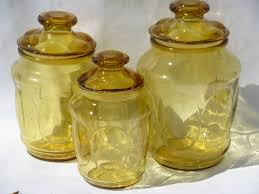 colored kitchen canisters 60s 70s vintage amber gold glass canister jars kitchen canisters