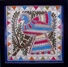 peacock blue 2 madhubani painting by kalaviti arts cloth
