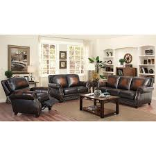 arlington 3 piece top grain leather living room set with pushback