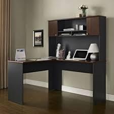 white corner l shaped desk with hutch and mobile pedestal