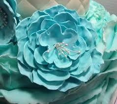 teal flowers today s wedding cake teal flowers made from gumpaste and ruffles