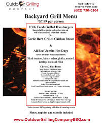 our bbq catering phoenix menu outdoor grilling company