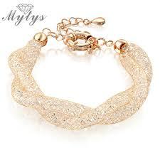 rose crystal bracelet images Mytys double wire mesh tube crystal bracelets for women rose gold jpg