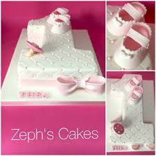 number one cake for a little baby girls first birthday hand made