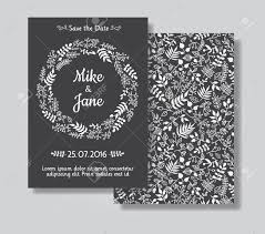Black And White Invitation Card Rustic Wedding Invitation Card Set White Floral Wreath On Black