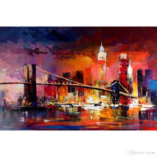 2018 wall art bridge paintings city skyline willem haenraet hand painted s oil painting on canvas home decor from reeme 126 64 dhgate com