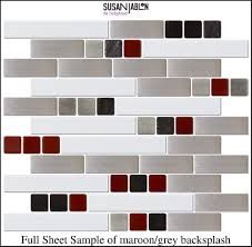 kitchen kitchen white floor tiles red backsplash black base c red