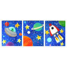 themed paintings custom space themed wall for kids set of 3 8x10 inch