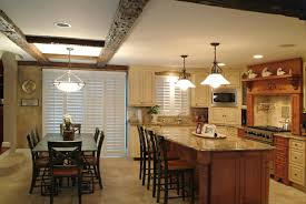 elegant two tone country kitchen cabinets in open plan kitchen