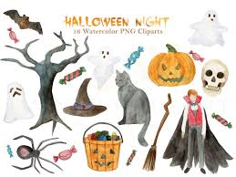 halloween clipart watercolor pumpkin witch ghost monster vampire