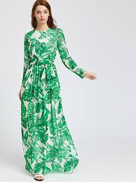 maxi dress palm leaf print maxi dress emmacloth women fast fashion online