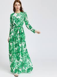 maxi dress palm leaf print maxi dress emmacloth women fast fashion online
