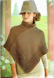 ponchos a palillo crochet y dos agujas patrones de tejido