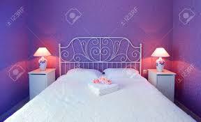romantic bedroom luxury interior design with warm light stock