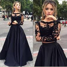 black a line long sleeves prom dress two pieces appliqued prom